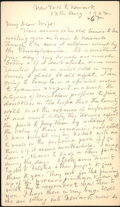 A letter John Charles Olmsted wrote to his wife, Sophia, on August 13, 1902