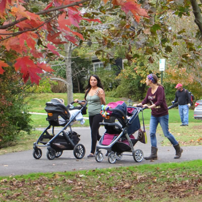 Strolling with strollers in the park