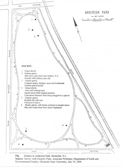 Map showing the location of erratics (boulders) in Anderson Park